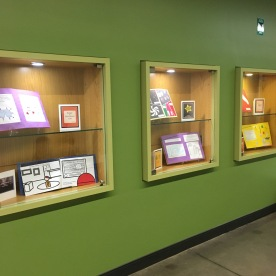 Student work on display in Clough Commons in August 2018